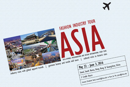 Poster for Fashion Industry Tour in Asia. Information detailed below.