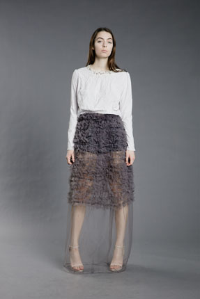 long sleeve top with mesh skirt